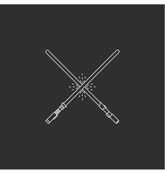 White swords on black background vector image