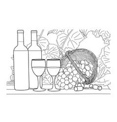 wine still life hand drawn vector image