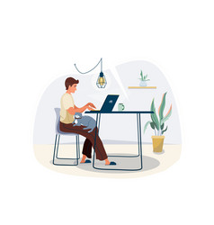 Work at home concept design freelancer man vector