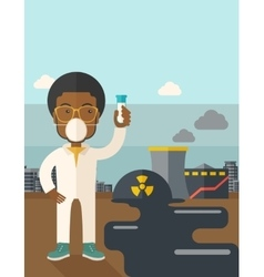 African Scientist with mask and test tube vector image vector image