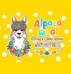 alpaca wool design template vector image vector image
