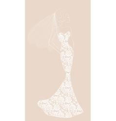 bride with veil vector image vector image