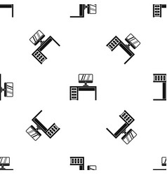 computer desk workplace pattern seamless black vector image vector image