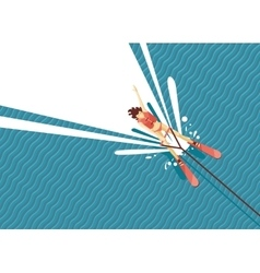 Girl water skiing Top view of woman on the sea vector image