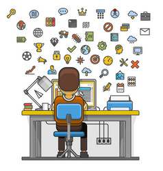 man sitting at desktop and working on the computer vector image vector image