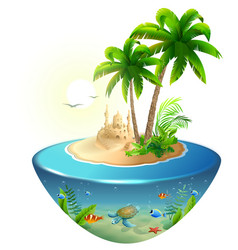 paradise tropical island in sea palm sand castle vector image