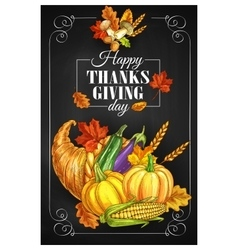 Thanksgiving Day holiday greeting poster vector image vector image