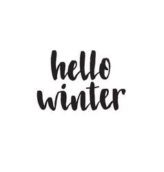 hello winter handwritten modern brush lettering vector image