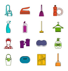 house cleaning icons doodle set vector image