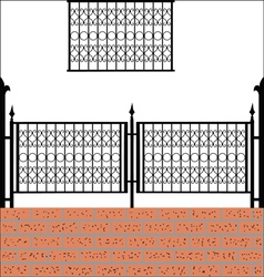 Iron fence with bricks vector image vector image