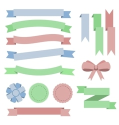 Set flat color ribbons badges bookmarks and bow vector image vector image