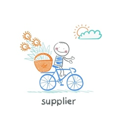 Supplier supplier carries a bike basket with goods vector