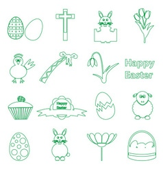 various simple outline Easter icons set eps10 vector image