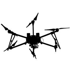 Black silhouette drone quadrocopter vector image