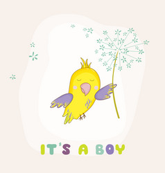 cute parrot flying with a flower baby shower card vector image vector image