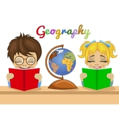 kids studying geography together reading books vector image vector image