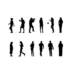 many black silhouettes vector image vector image