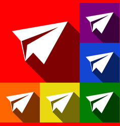 paper airplane sign set of icons with vector image