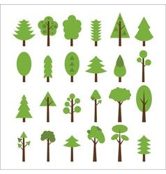 Set of flat icons tree Green trees icons set vector image vector image