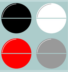 Tablet or pill black white red grey icon vector