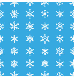 blue snowflake seamless pattern 30 various types vector image vector image
