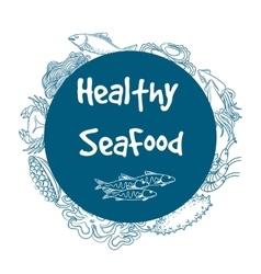 Healthy seafood circle banner vector image