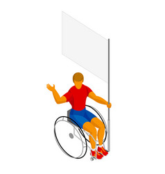 Isometirc physically disabled flag bearer vector