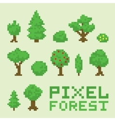 Pixel art forest isolated set vector image