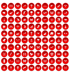 100 fly icons set red vector