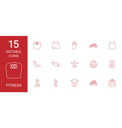 15 fitness icons vector