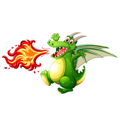 a green dragon fire vector image