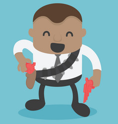 african businessman cowboy in hand there is vector image