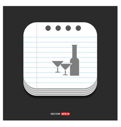 alcohol drink icon gray icon on notepad style vector image