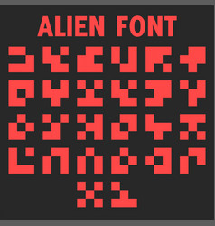 Alien font letters alphabet for display vector