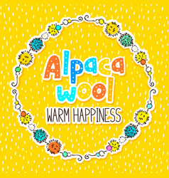 Alpaca wool label design vector