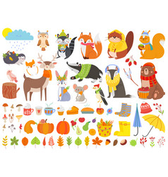 Autumn forest animals fall squirrel funny bear vector