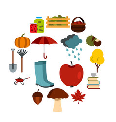 autumn icons set flat ctyle vector image