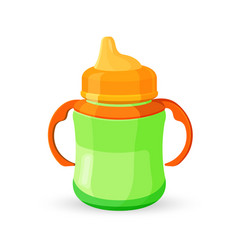 baby cup bottle green orange translucent drinking vector image