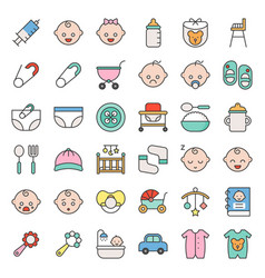 baby related and emoticon filled outline icon set vector image