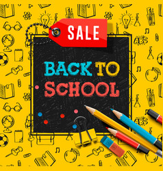 back to school sale poster and banner vector image