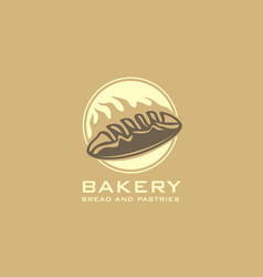 bakery logo with bread and oven flame vector image