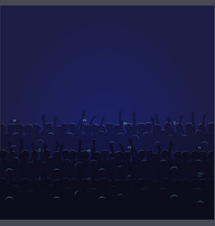 Big concert hall with blue light full of people vector