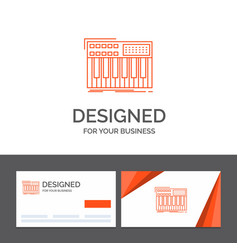 Business logo template for synth keyboard midi vector