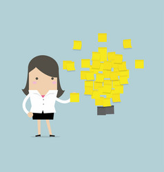 Businesswoman with a lot stickers with ideas vector