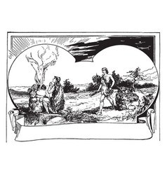 Cain and abel make offerings to the lord vintage vector