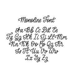 calligraphic monoline font letters on white vector image