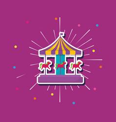Carnival carousel icon vector