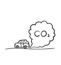Cartoon car blowing exhaust fumes doodle co2 vector