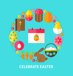celebrate easter postcard vector image