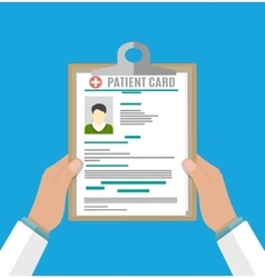 Clipboard in doctors hand medical report analysis vector